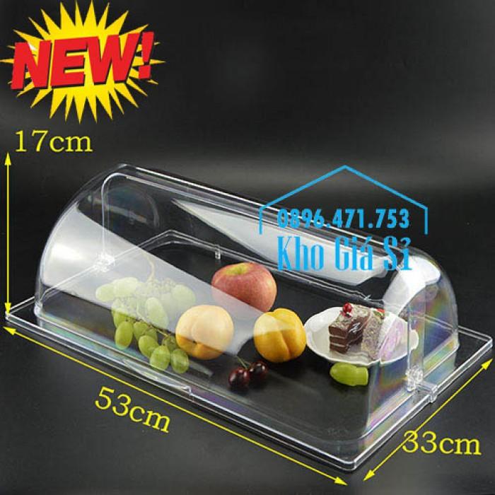 Nắp nhựa mica mở 180 độ đậy thức ăn - Nắp nhựa mica trong suốt mở 1/2 đậy khay buffet tại HCM10