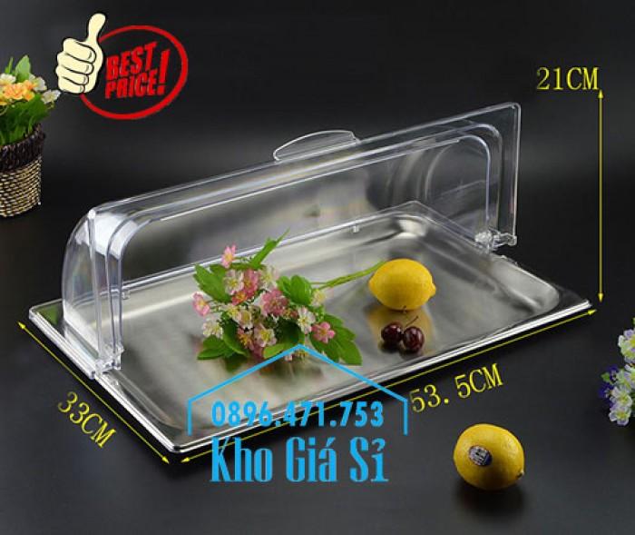Nắp nhựa mica mở 180 độ đậy thức ăn - Nắp nhựa mica trong suốt mở 1/2 đậy khay buffet tại HCM2