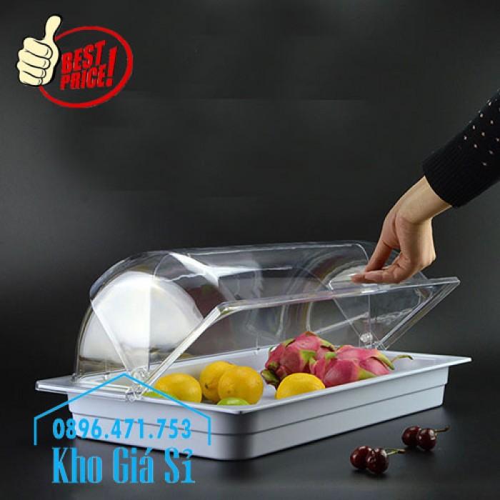 Nắp nhựa mica mở 180 độ đậy thức ăn - Nắp nhựa mica trong suốt mở 1/2 đậy khay buffet tại HCM3