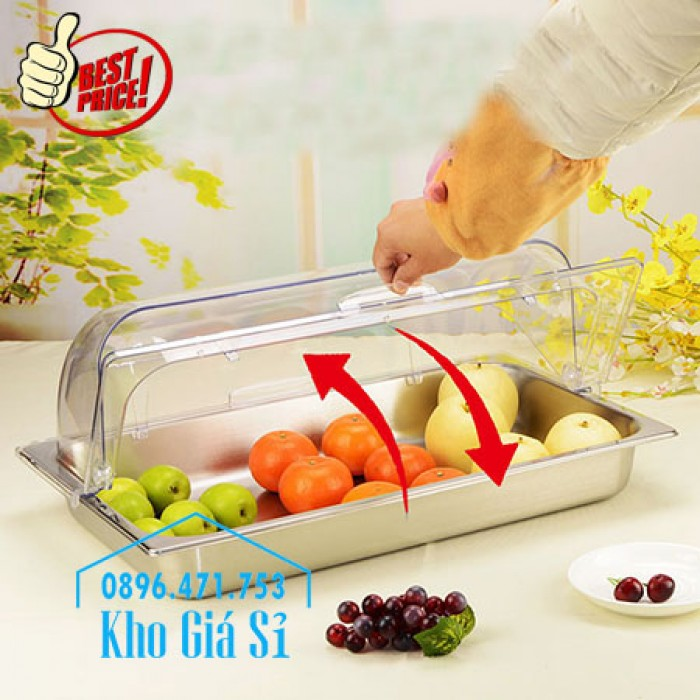 Nắp nhựa mica mở 180 độ đậy thức ăn - Nắp nhựa mica trong suốt mở 1/2 đậy khay buffet tại HCM5