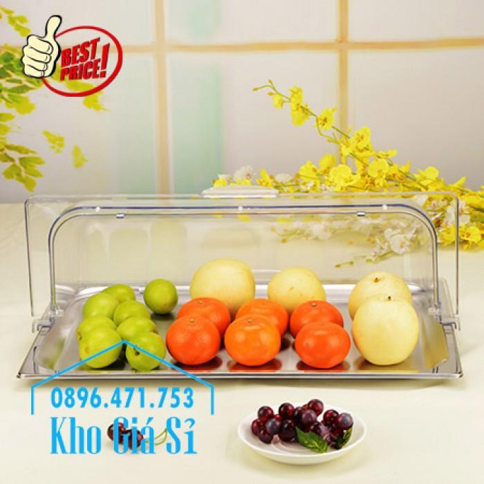 Nắp nhựa mica mở 180 độ đậy thức ăn - Nắp nhựa mica trong suốt mở 1/2 đậy khay buffet tại HCM8