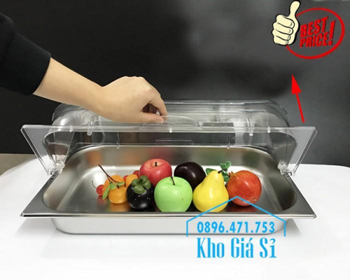 Nắp nhựa mica mở 180 độ đậy thức ăn - Nắp nhựa mica trong suốt mở 1/2 đậy khay buffet tại HCM11