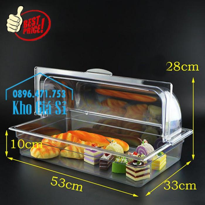 Nắp nhựa mica mở 180 độ đậy thức ăn - Nắp nhựa mica trong suốt mở 1/2 đậy khay buffet tại HCM12