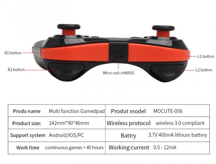 Tay cầm chơi game bluetooth Mocute 056 cho ios android hỗ trợ liên quân6