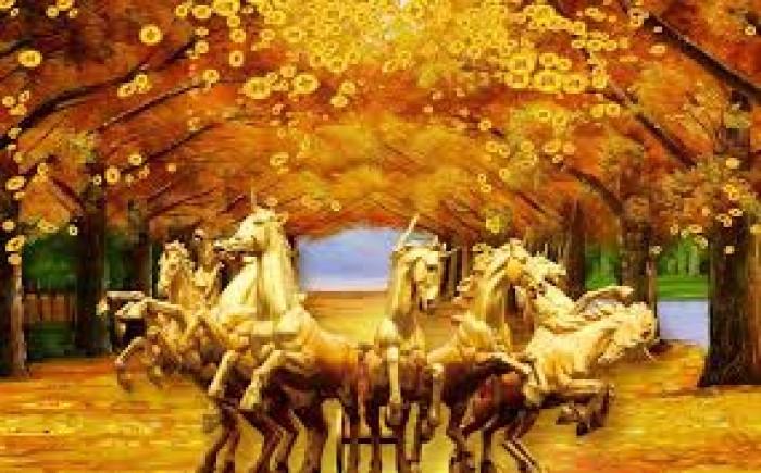 Tranh gạch ốp tường mẫu tranh ngựa 3d0