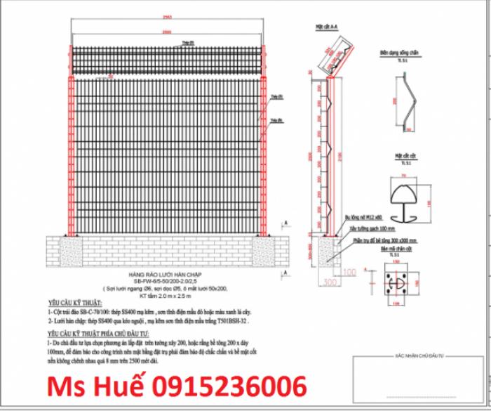 Hàng rào cột trái đào phi 5 ô 50x150