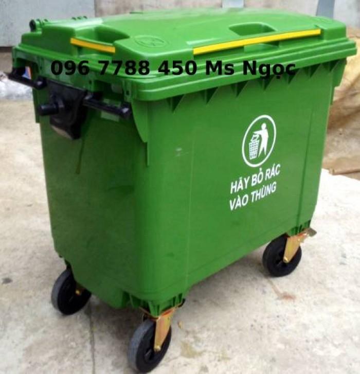 Thùng nhựa đựng rác môi trường 660 lít có 4 bánh xe0