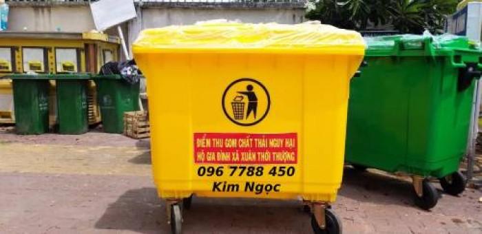 Thùng nhựa đựng rác môi trường 660 lít có 4 bánh xe1