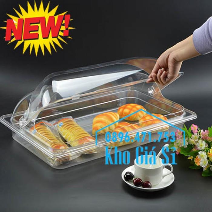 Nắp nhựa hình chữ nhật đậy khay thức ăn buffet giá tốt tại HCM - Nắp nhựa trong suốt mở 1/2 đậy khay đựng thực phẩm tại Bình Thạnh