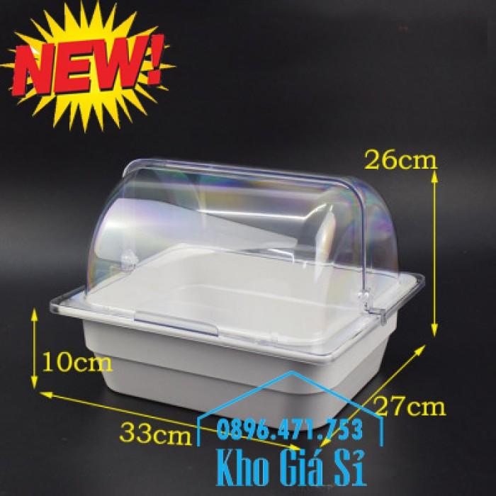 Nắp khay buffet hình chữ nhật mở 180 độ - Nắp nhựa mica đậy khay 1/1 - Nắp nhựa trong suốt đậy khay 1/2 giá tốt tại HCM0