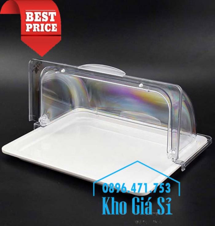 Nắp khay buffet hình chữ nhật mở 180 độ - Nắp nhựa mica đậy khay 1/1 - Nắp nhựa trong suốt đậy khay 1/2 giá tốt tại HCM2