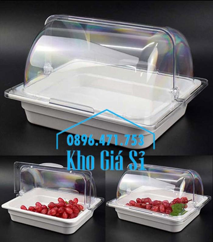 Nắp khay buffet hình chữ nhật mở 180 độ - Nắp nhựa mica đậy khay 1/1 - Nắp nhựa trong suốt đậy khay 1/2 giá tốt tại HCM5