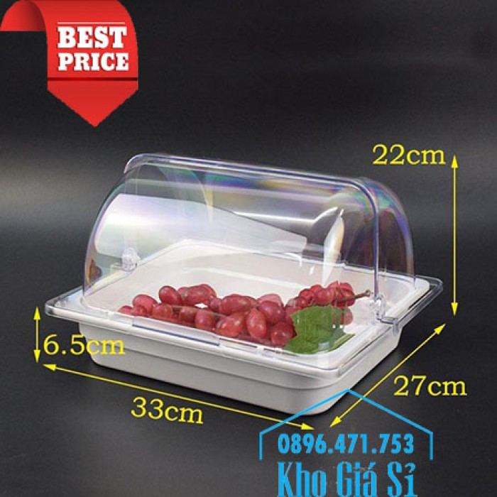 Nắp khay buffet hình chữ nhật mở 180 độ - Nắp nhựa mica đậy khay 1/1 - Nắp nhựa trong suốt đậy khay 1/2 giá tốt tại HCM7