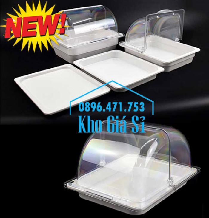 Nắp khay buffet hình chữ nhật mở 180 độ - Nắp nhựa mica đậy khay 1/1 - Nắp nhựa trong suốt đậy khay 1/2 giá tốt tại HCM13