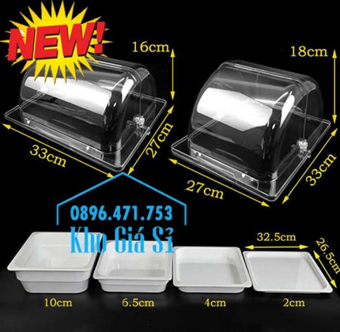Nắp khay buffet hình chữ nhật mở 180 độ - Nắp nhựa mica đậy khay 1/1 - Nắp nhựa trong suốt đậy khay 1/2 giá tốt tại HCM9