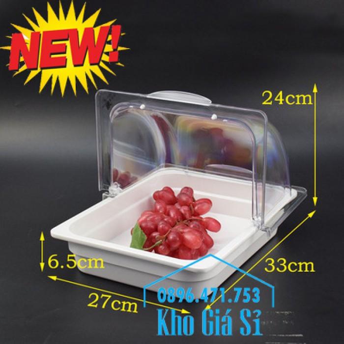 Nắp khay buffet hình chữ nhật mở 180 độ - Nắp nhựa mica đậy khay 1/1 - Nắp nhựa trong suốt đậy khay 1/2 giá tốt tại HCM14