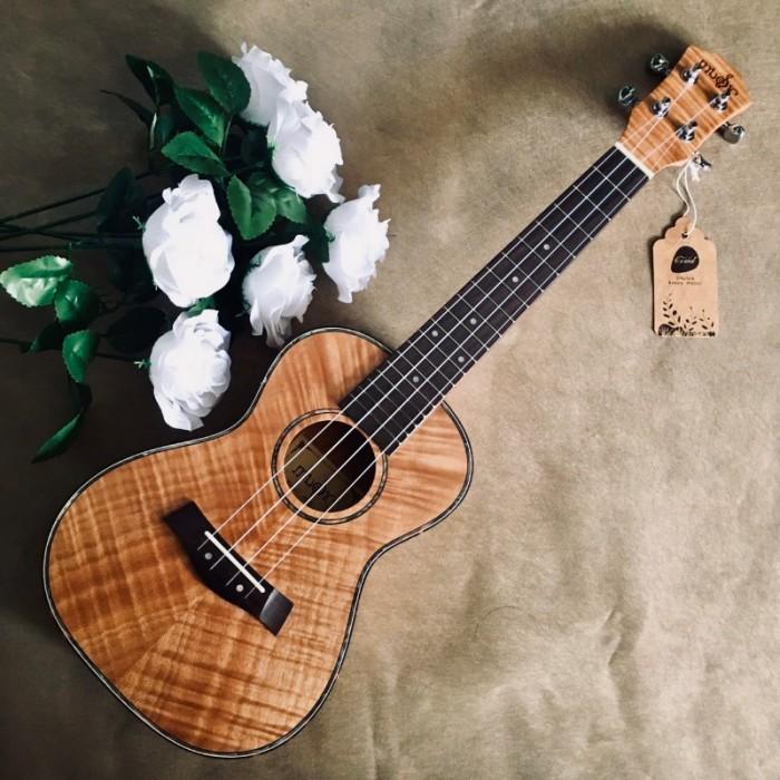 Âm thanh đanh, sáng khá giống Maple.  #Infor: • Size: Concert 23' (58 cm). • Chất liệu:  + Lưng và hông: gỗ KOA. + Mặt đàn: gỗ KOA. • Đánh giá âm thanh: Tốt. • Thích hợp dùng tập chơi và cả dùng chơi lâu dài. => Bảo hành 2 năm sử dụng.3
