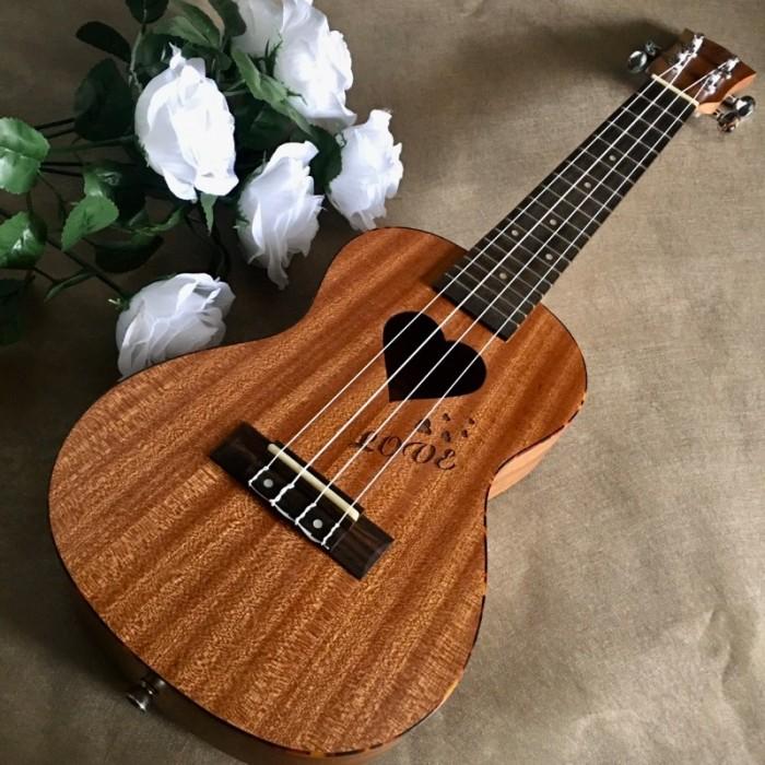 #Infor: • Size: Concert 23' (58 cm). • Chất liệu:  + Lưng và hông: gỗ Sapele. + Mặt đàn:gỗ Sapele. • Đánh giá âm thanh: Tốt. • Thích hợp dùng tập chơi và cả dùng chơi lâu dài. • Bảo hành: 2 năm1