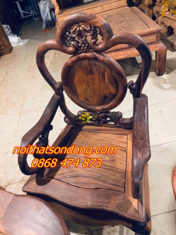 Bộ bàn ghế guột nho 7 món gỗ cẩm lai xịn 100%6