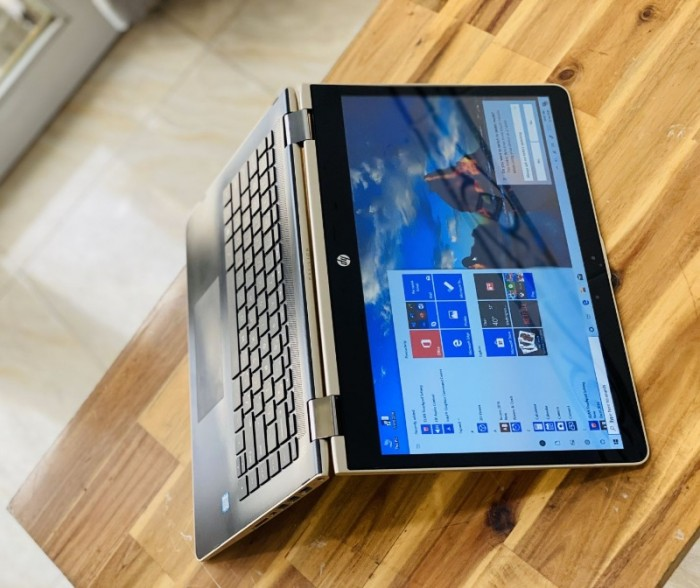 Laptop Hp Pavilion X360 14-ba063tu, i3 7100U 4G SSD128-500G Toud xoay 360 độ Màu GOLD Keng3