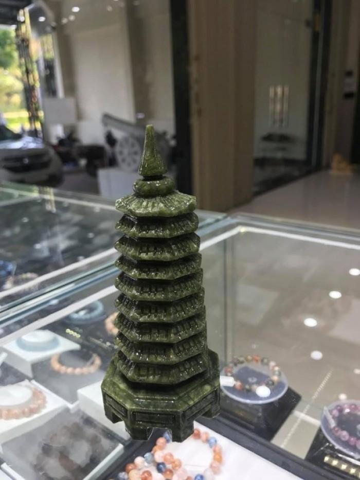 Tháp Văn Xương  đá lam ngọc (ngọc Serpentine) nguyên khối 14cm2