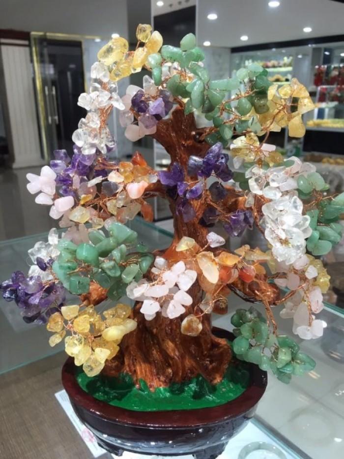 Cây Tài Lộc bằng đá Thạch Anh đa sắc 30cm0