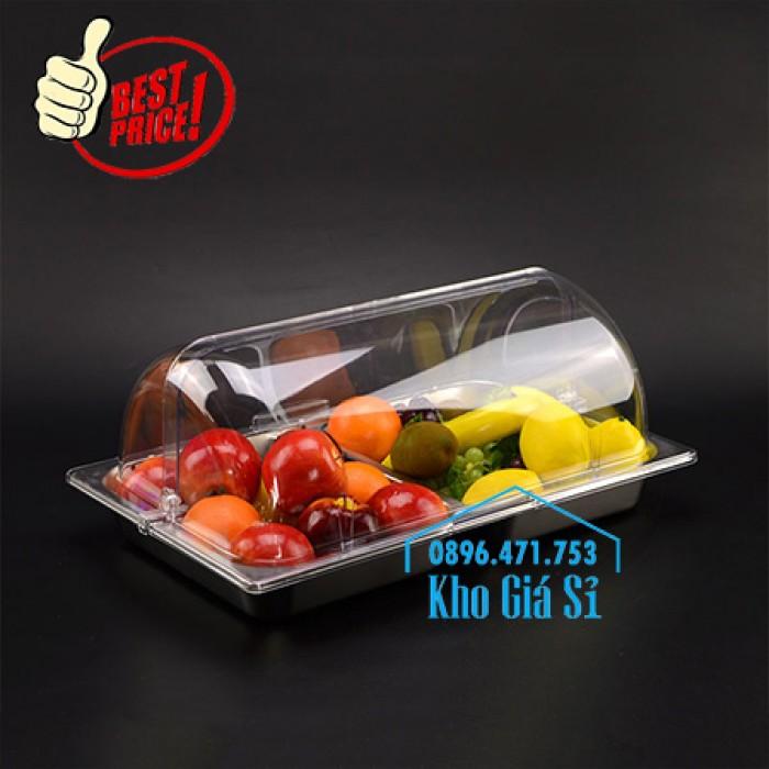 Khay inox, Khay melamine chữ nhật có nắp đậy bằng nhựa trong suốt kiểu vòm giá tốt tại HCM