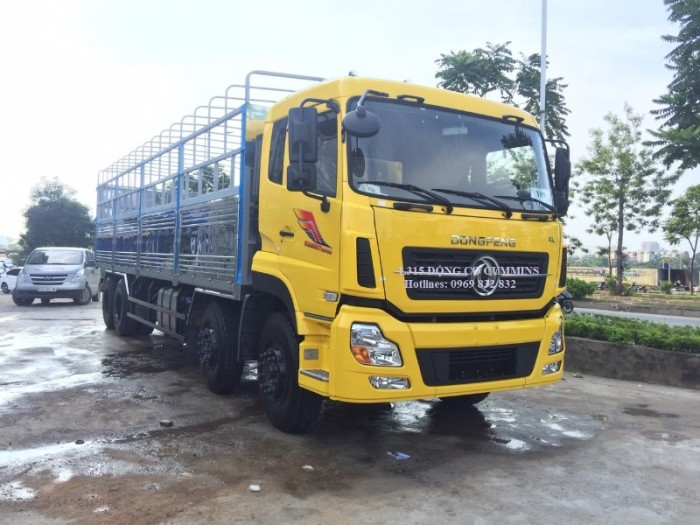 Xe tải Dong feng 4 chân ISL315, Động cơ Cummins, Thùng mui bạt 9,5m Nhập khẩu Nguyên chiếc0