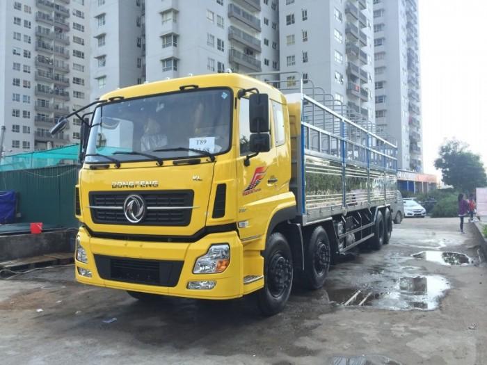 Xe tải Dong feng 4 chân ISL315, Động cơ Cummins, Thùng mui bạt 9,5m Nhập khẩu Nguyên chiếc