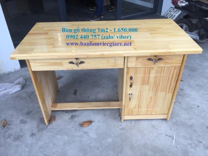Bàn làm việc gỗ thông 1m2*60 - bao vận chuyển1