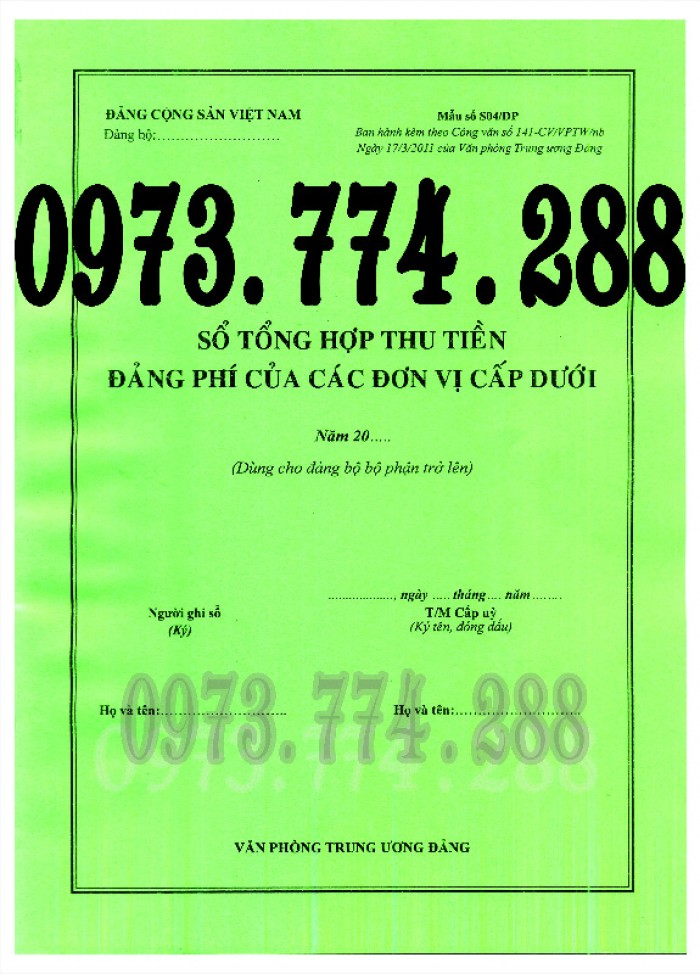 Sổ thu chi tài chính của tổ chính đảng cơ sở và cấp trên cơ sở4