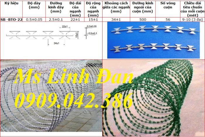 Chuyên cung cấp dây thép gai hình dao mạ kẽm, dây thép gai hình dao inox, dây thép