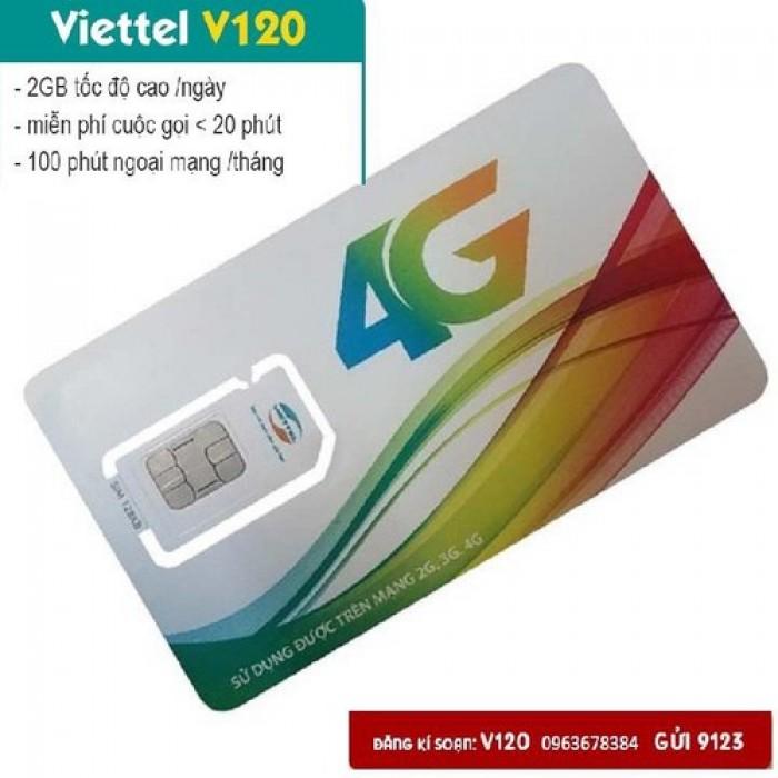 Sim Viettel V120-free 60GB THÁNG-Miễn phí sử dụng THÁNG ĐẦU0