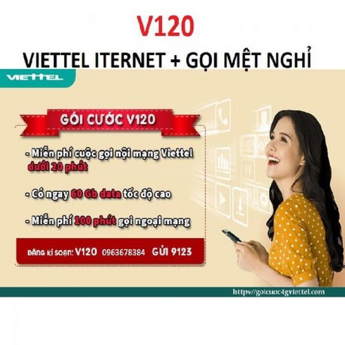 Sim Viettel V120-free 60GB THÁNG-Miễn phí sử dụng THÁNG ĐẦU1