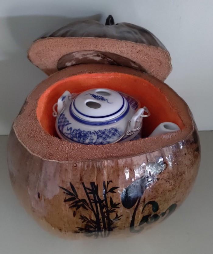 Combo Vỏ + bình trà trái dừa hoa văn chữ: An-Tâm-Nhẫn-Phát-Hiếu9