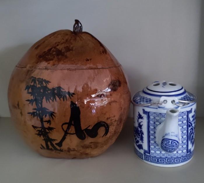 Combo Vỏ + bình trà trái dừa hoa văn chữ: An-Tâm-Nhẫn-Phát-Hiếu7