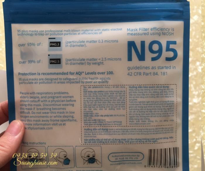 Khẩu Trang N95 Hàng chuẩn xuất khẩu có FDA để xuất Mỹ -Suonghouse13