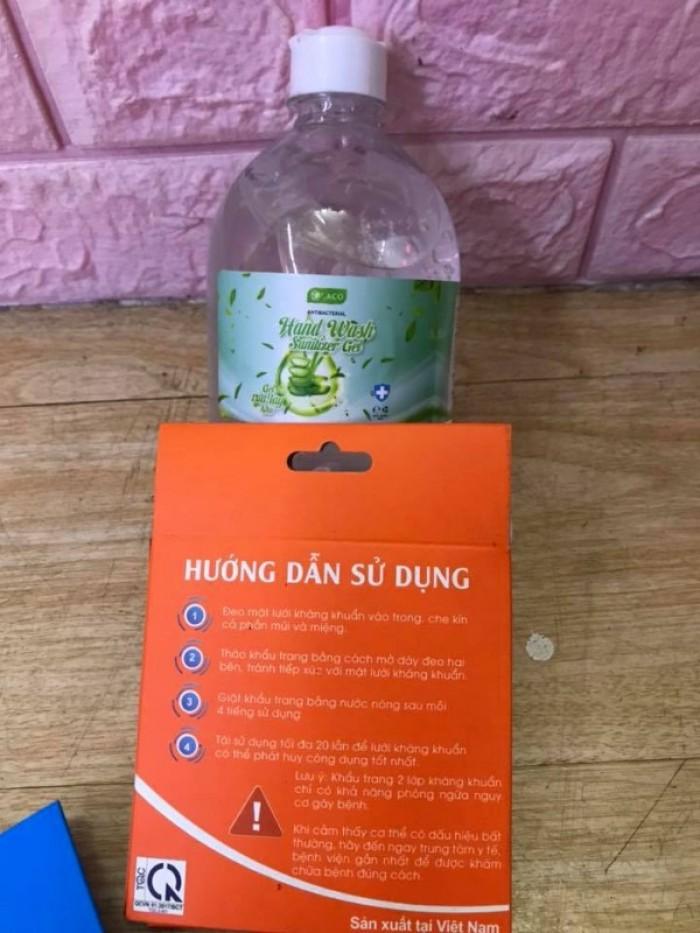 Combo Gel rửa tay khô sát khuẩn 500ml tặng khẩu trang vải 2 lớp kháng khuẩn0