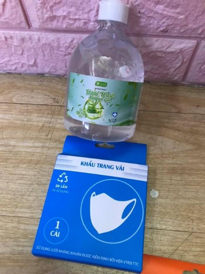 Combo Gel rửa tay khô sát khuẩn 500ml tặng khẩu trang vải 2 lớp kháng khuẩn4