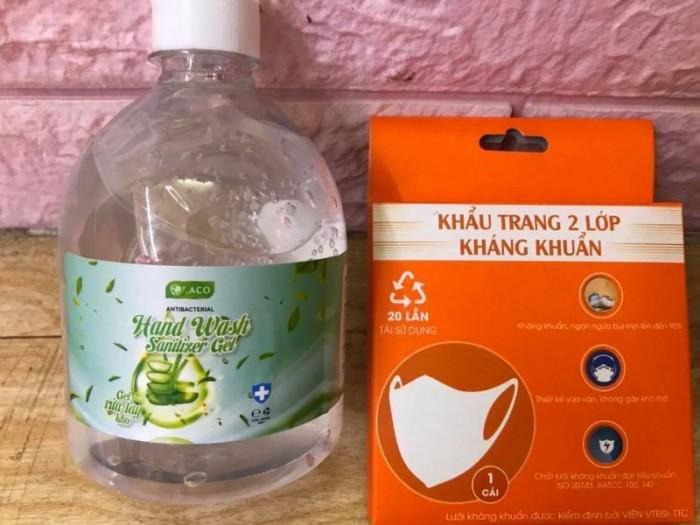 Combo Gel rửa tay khô sát khuẩn 500ml tặng khẩu trang vải 2 lớp kháng khuẩn2