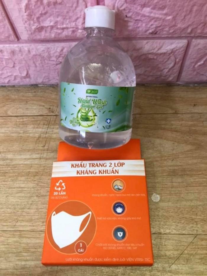 Combo Gel rửa tay khô sát khuẩn 500ml tặng khẩu trang vải 2 lớp kháng khuẩn5
