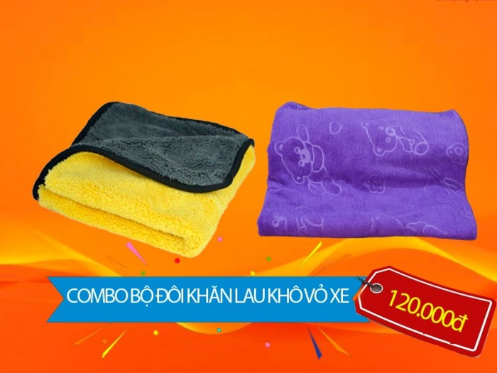 [COMBO] Bộ đôi khăn lau khô vỏ xe - TAHICO1