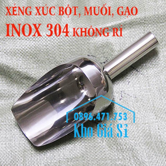 Dụng cụ chuyên dụng xúc bột, xúc muối, xúc gạo, xúc hóa chất bằng inox 304 cao cấp không rỉ0