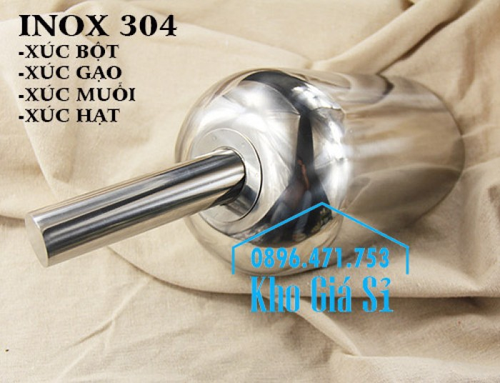Dụng cụ chuyên dụng xúc bột, xúc muối, xúc gạo, xúc hóa chất bằng inox 304 cao cấp không rỉ2