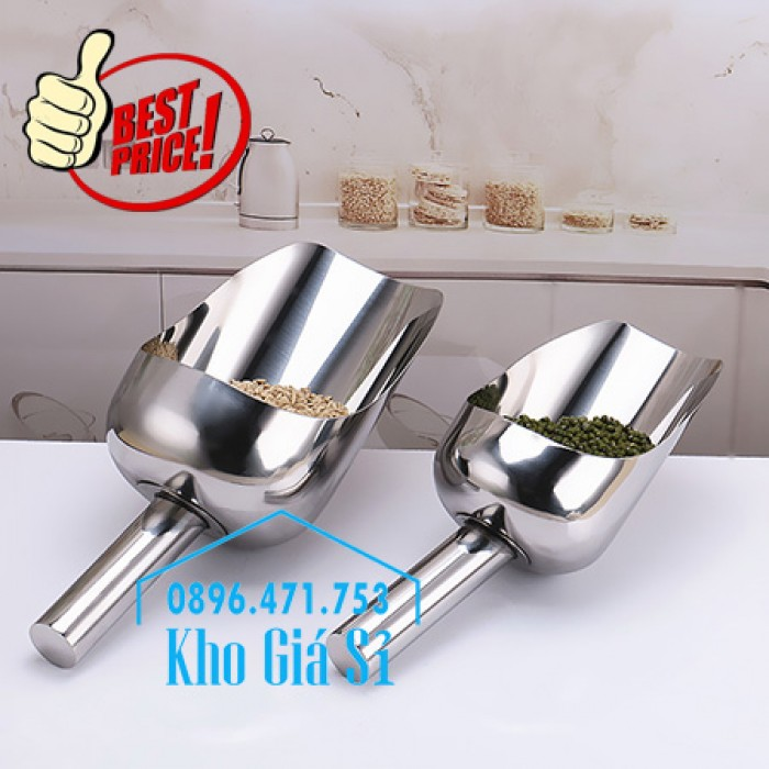 Dụng cụ chuyên dụng xúc bột, xúc muối, xúc gạo, xúc hóa chất bằng inox 304 cao cấp không rỉ12