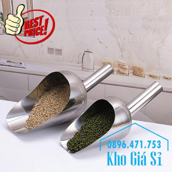 Dụng cụ chuyên dụng xúc bột, xúc muối, xúc gạo, xúc hóa chất bằng inox 304 cao cấp không rỉ10