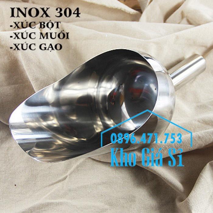 Dụng cụ chuyên dụng xúc bột, xúc muối, xúc gạo, xúc hóa chất bằng inox 304 cao cấp không rỉ15