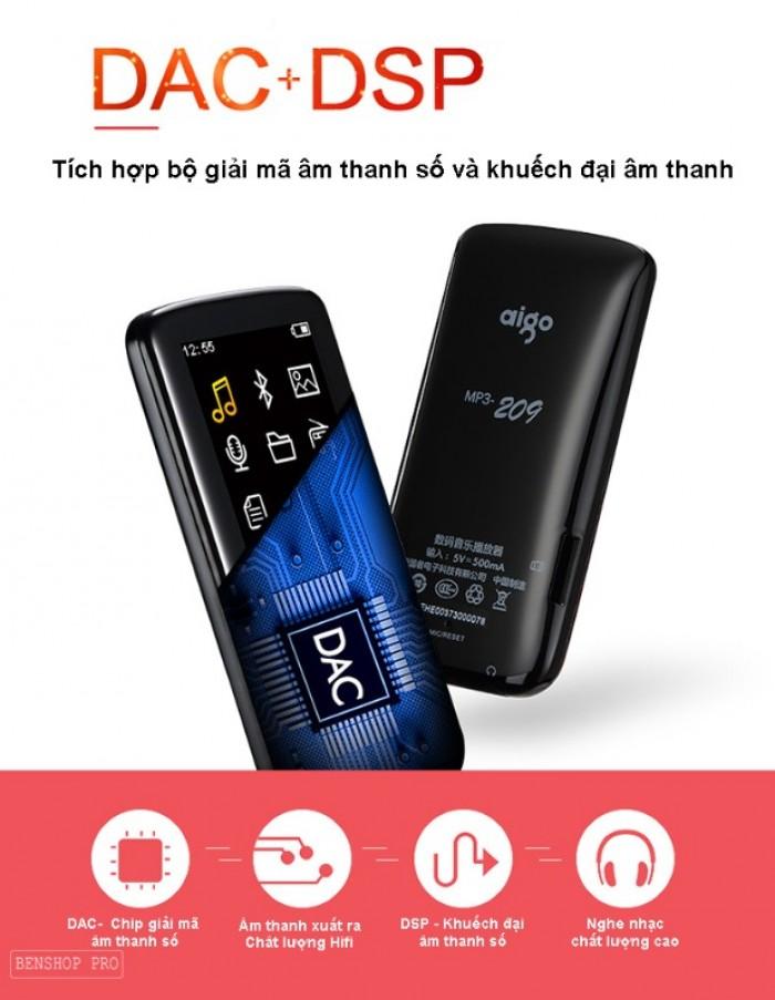 Máy nghe nhạc Lossless Bluetooth Aigo MP3-209 (Tặng thẻ nhớ 8Gb và tai nghe)3