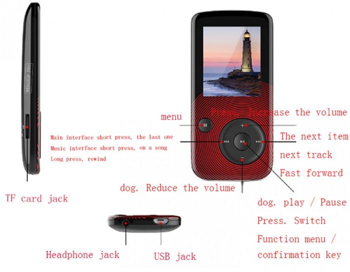 Máy nghe nhạc Lossless Bluetooth Aigo MP3-209 (Tặng thẻ nhớ 8Gb và tai nghe)4