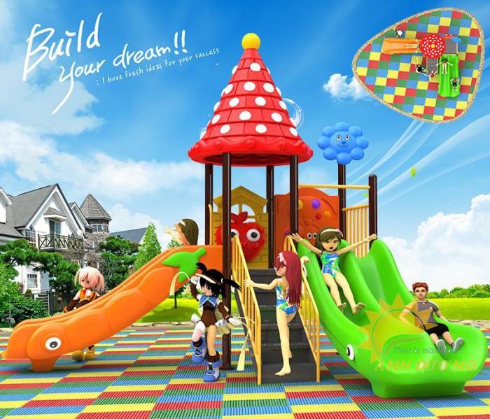 Các bộ liên hoàn cầu trượt trẻ em cho trường mầm non, sân chơi, công viên giá cực SỐC6
